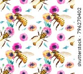 seamless pattern with and bees. ... | Shutterstock . vector #796270402