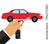 a man holds the keys to the car.... | Shutterstock .eps vector #796272382