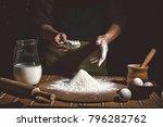 bakery. man preparing bread ... | Shutterstock . vector #796282762