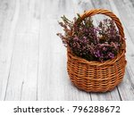 Basket With Heather Flowers On...