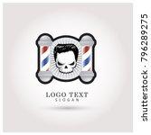 skull barbershop logo. symbol   ...   Shutterstock .eps vector #796289275