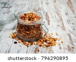 homemade baked granola in a... | Shutterstock . vector #796290895