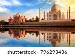 taj mahal india at sunset with... | Shutterstock . vector #796293436