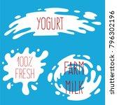 milk labels vector set. splash... | Shutterstock .eps vector #796302196