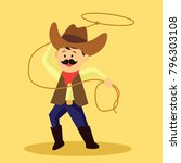 cowboy throws a lasso for rodeo ... | Shutterstock .eps vector #796303108