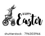 hand drawn bunny riding... | Shutterstock .eps vector #796303966