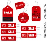 set of sale tags with text.... | Shutterstock . vector #796308076