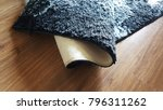 black synthetic carpet rolls on ... | Shutterstock . vector #796311262