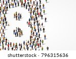 large group of people in number ... | Shutterstock .eps vector #796315636