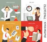 meeting deadlines 4 flat icons... | Shutterstock .eps vector #796316752