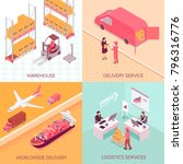 logistics services isometric... | Shutterstock .eps vector #796316776