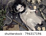 scary doll in bride dress with... | Shutterstock . vector #796317196