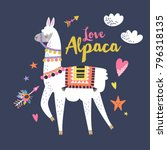 love alpaca card for holiday... | Shutterstock .eps vector #796318135