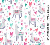 seamless pattern with llama ... | Shutterstock .eps vector #796318138