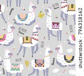 seamless pattern with llama ... | Shutterstock .eps vector #796318162