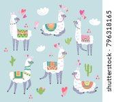 llama animal vector color set | Shutterstock .eps vector #796318165