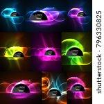 set of vector glowing neon... | Shutterstock .eps vector #796330825
