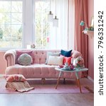pink room sofa and middle stand ...   Shutterstock . vector #796331242