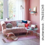 pink room sofa and middle stand ... | Shutterstock . vector #796331245