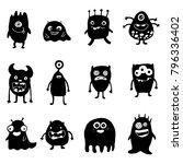 set of doodle monsters... | Shutterstock .eps vector #796336402