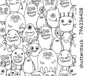 seamless pattern with doodle... | Shutterstock .eps vector #796336408