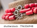 Silver Clasp On A Red Coral...