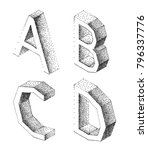 stylish letters a  b  c  d to... | Shutterstock .eps vector #796337776