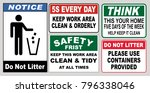 set of clean sticker sign for