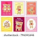 i love you and me teddy bears... | Shutterstock .eps vector #796341646