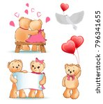 teddy bears collection  couple... | Shutterstock .eps vector #796341655