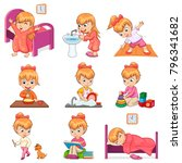 little girl brushes teeth ... | Shutterstock .eps vector #796341682
