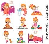 little girl brushes teeth ... | Shutterstock .eps vector #796341682