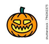 horror emoji   evil pumpkin | Shutterstock .eps vector #796342375