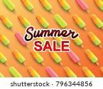 summer sale banner on ice cream ... | Shutterstock .eps vector #796344856