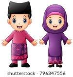 cartoon brunei couple wearing...   Shutterstock .eps vector #796347556