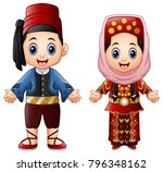 cartoon turkish couple wearing... | Shutterstock .eps vector #796348162