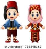 cartoon turkish couple wearing...   Shutterstock .eps vector #796348162