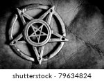 Pentagram in hand macro shot - stock photo