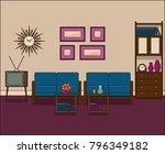 retro living room in flat... | Shutterstock .eps vector #796349182