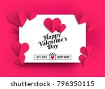 illustration of hearts of pink... | Shutterstock .eps vector #796350115