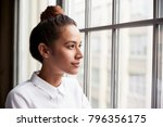 young businesswoman with hair... | Shutterstock . vector #796356175
