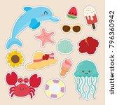 set of cute sticker  | Shutterstock .eps vector #796360942