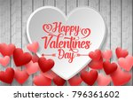 happy valentines day with white ... | Shutterstock .eps vector #796361602