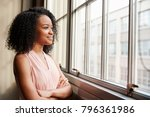 young black woman with arms... | Shutterstock . vector #796361986