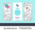 set of patterns for easter cards | Shutterstock .eps vector #796365556