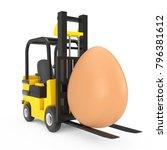 forklift truck moves big brown... | Shutterstock . vector #796381612
