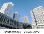 blue sky and building in tokyo...   Shutterstock . vector #796382092