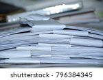 stack of business report paper... | Shutterstock . vector #796384345