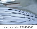 stack of business report paper... | Shutterstock . vector #796384348