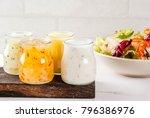 set of classic salad dressings  ...   Shutterstock . vector #796386976